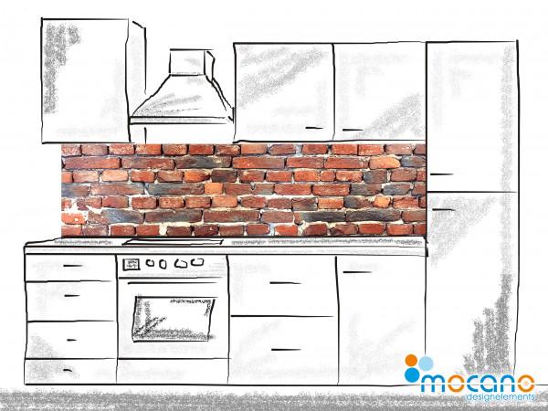 Küchenrückwand Ziegelsteinwand 200x50cm - Wohnbeispiel