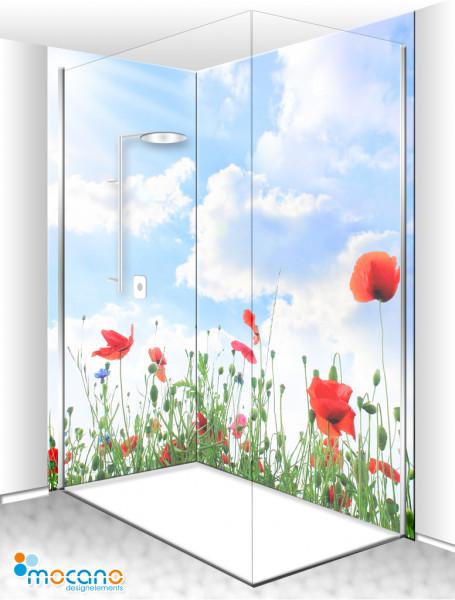 Duschrückwand Eck-Set Sunshine Poppy 200x210cm - Wohnbeispiel