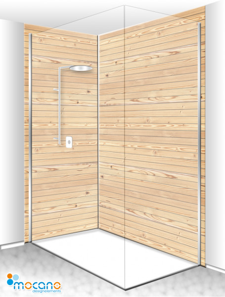 Duschrückwand Eck-Set Holzoptik Zirbe 200x210cm - Wohnbeispiel