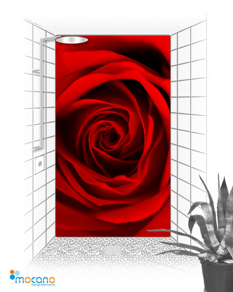 Duschrückwand Red Dreaming Rose 120x210cm - Wohnbeispiel