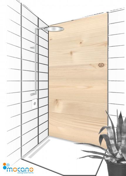 Duschrückwand Holzoptik Fichte 90x210cm - Wohnbeispiel