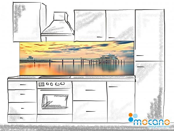 Küchenrückwand Seebrücke Timmendorfer Strand im Sonnenuntergang 200x60cm - Wohnbeispiel