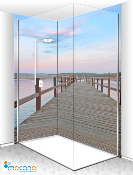 Duschrückwand Eck-Set Steg am See im Sonnenaufgang 200x210cm - Wohnbeispiel