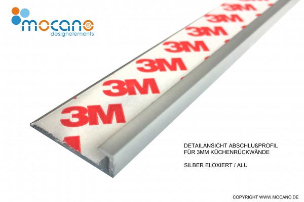 Abschlußprofil für 3mm Küchenrückwände aus Acrylglas und Aluverbund