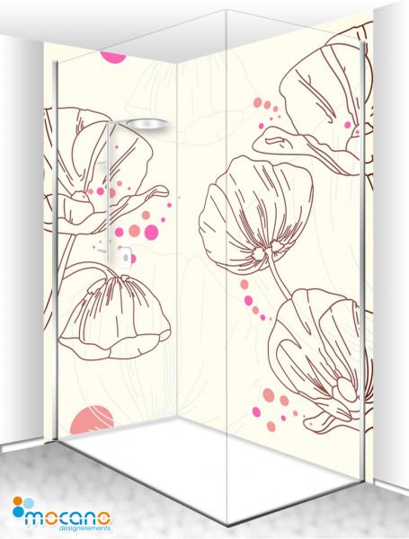 Duschrückwand Eck Set - Design Mohnblumen - Wohnbeispiel