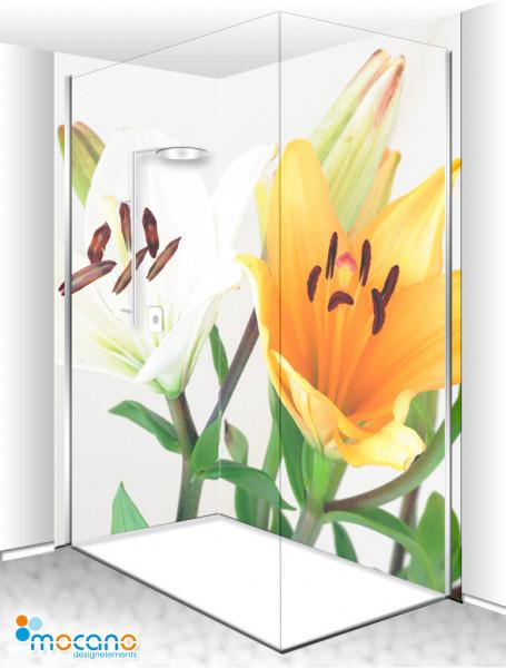 Duschrückwand Eck-Set Lilien 200x210cm - Wohnbeispiel