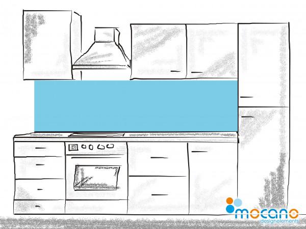 Küchenrückwand Licht Blau einfarbig UNI 200x60cm - Wohnbeispiel