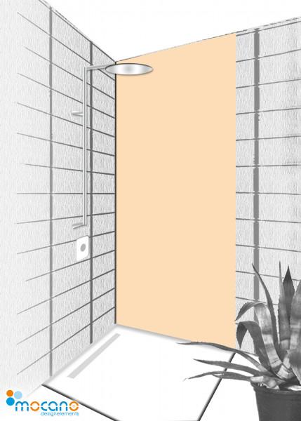 Duschrückwand Pastel Peach 80x210cm einfarbig UNI - Wohnbeispiel