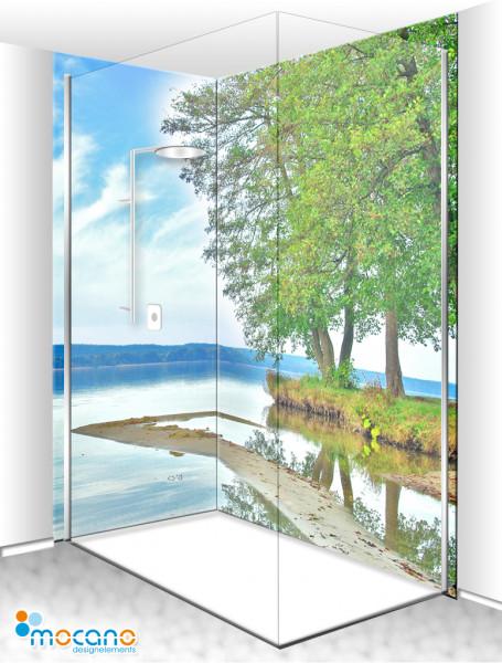 Duschrückwand Eck-Set Blick über den See 200x210cm - Wohnbeispiel