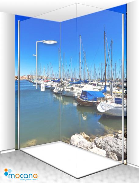 Duschrückwand Eck-Set Yachthafen FR 200x210cm - Wohnbeispiel